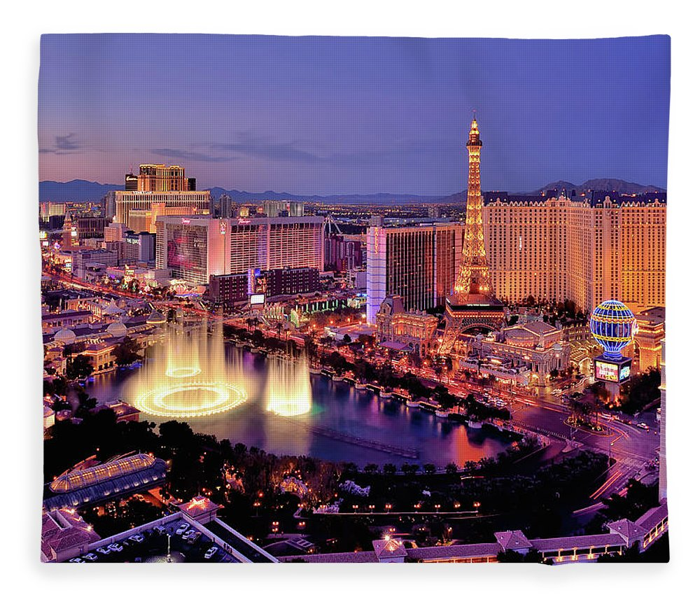 Built Structure Fleece Blanket featuring the photograph City Skyline At Night With Bellagio by Rebeccaang