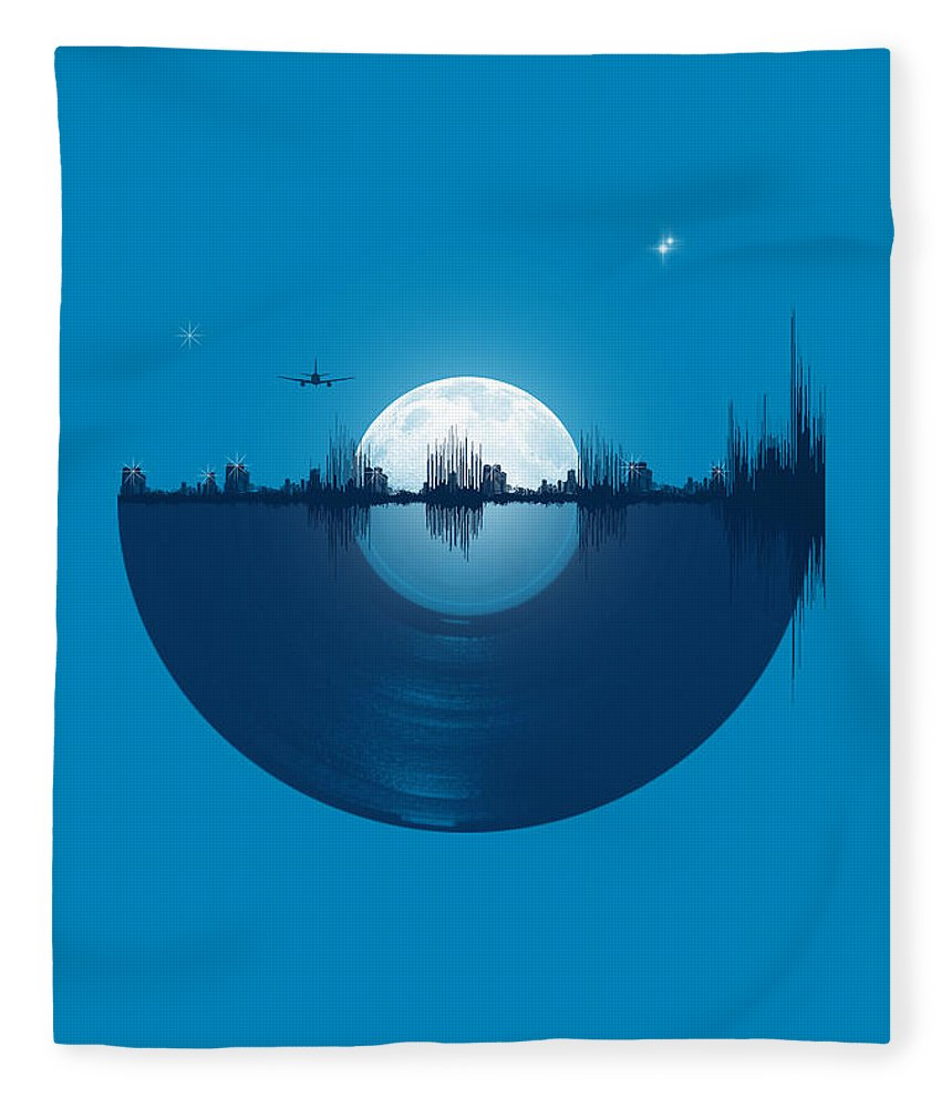 City Fleece Blanket featuring the digital art City tunes by Neelanjana Bandyopadhyay