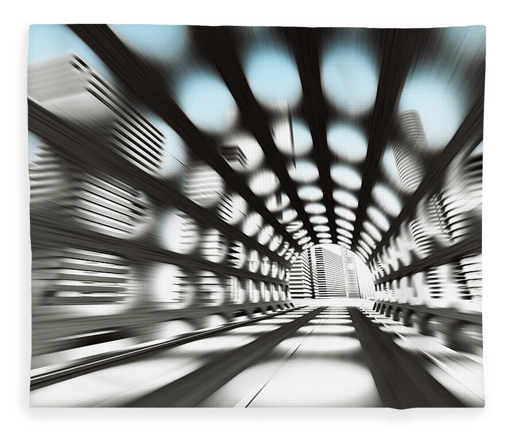 Outdoors Fleece Blanket featuring the digital art Cityscape by Jorg Greuel