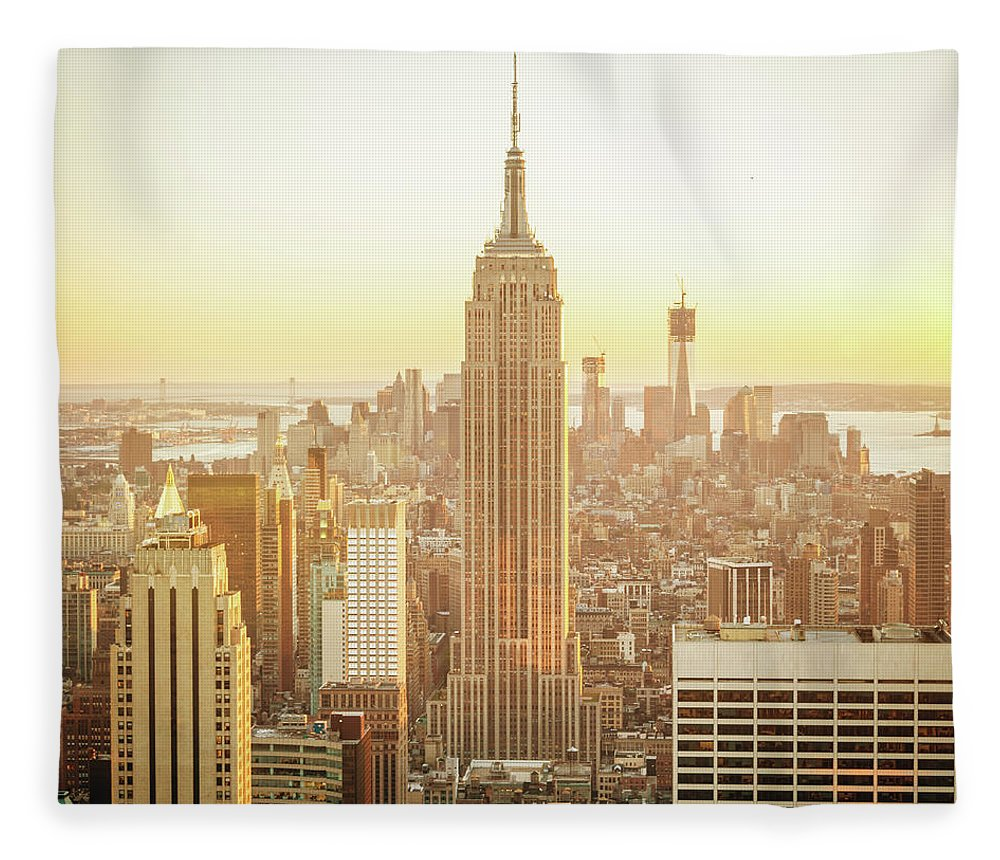 Scenics Fleece Blanket featuring the photograph Cityscape Manhattan Sunset New York by Mlenny