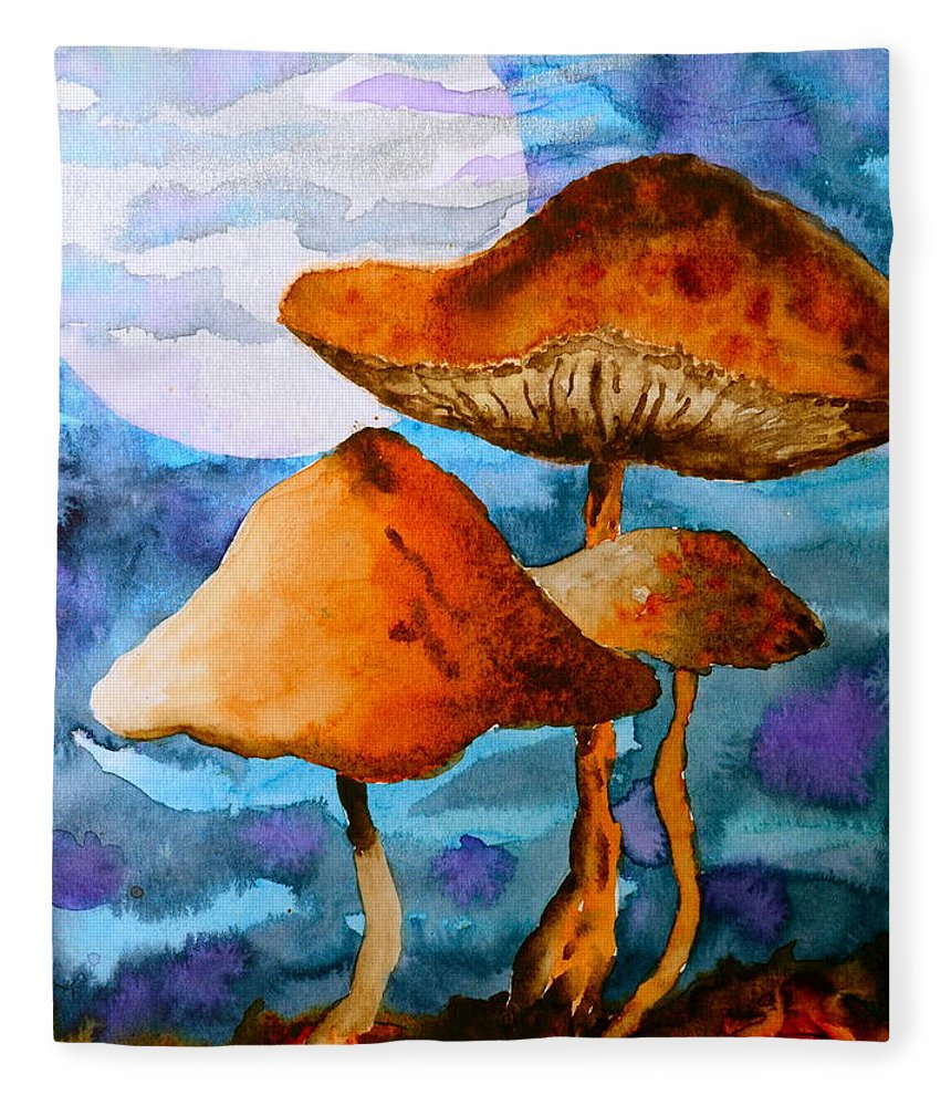 Watercolor Fleece Blanket featuring the painting Claiming The Moon by Beverley Harper Tinsley
