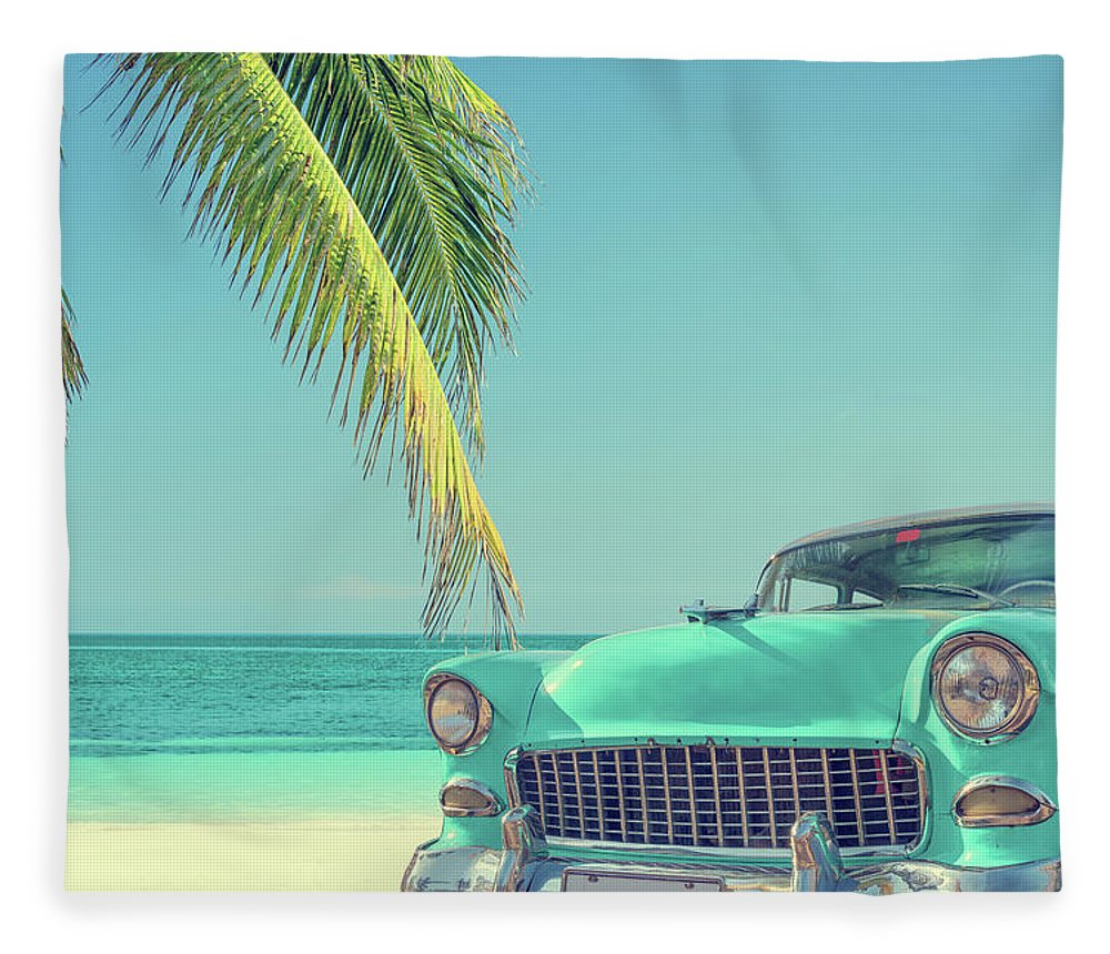 Scenics Fleece Blanket featuring the photograph Classic Car On A Tropical Beach With by Delpixart