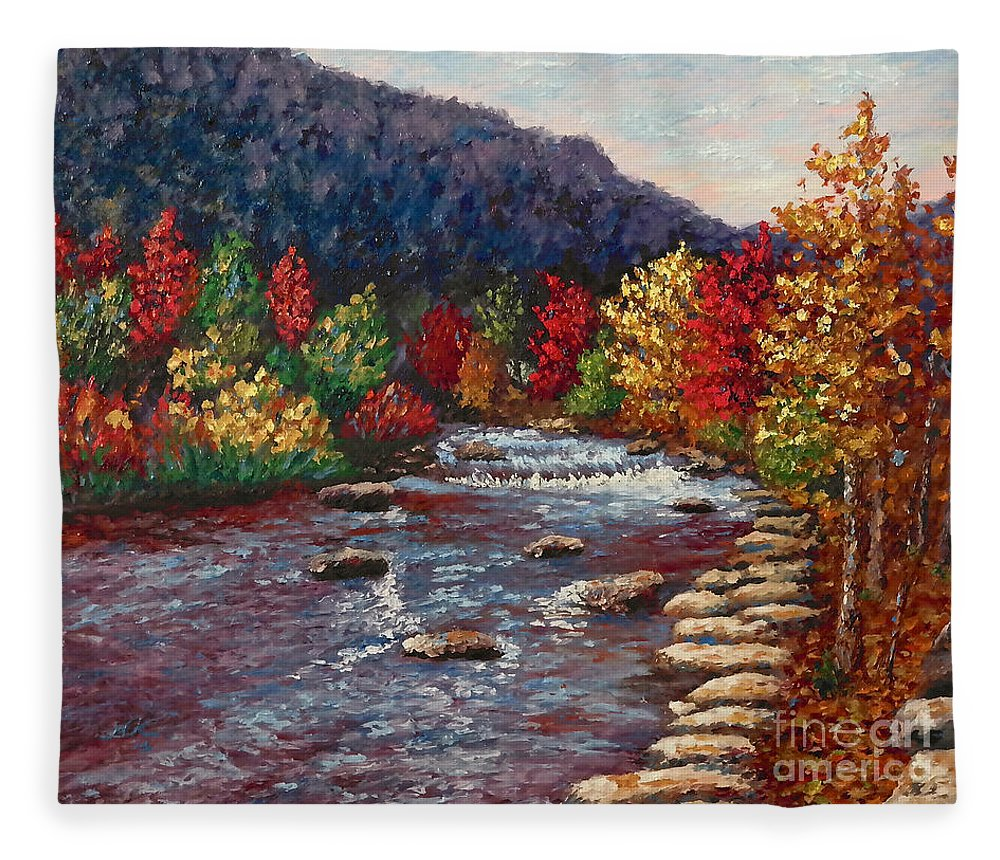 Landscape Fleece Blanket featuring the painting Clear Creek In Golden Colorado by Francesca Kee