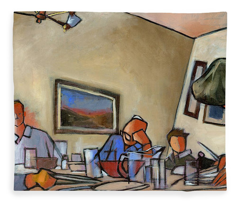 Family Fleece Blanket featuring the painting Clearing The Table by Douglas Simonson