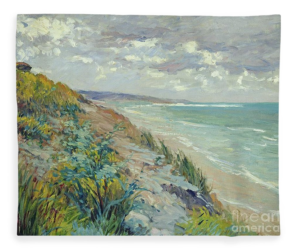 Beach Fleece Blanket featuring the painting Cliffs by the sea at Trouville by Gustave Caillebotte