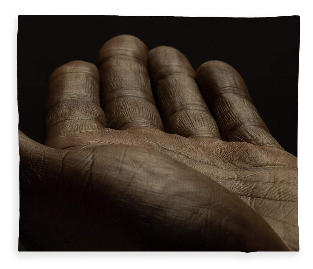 Empty Fleece Blanket featuring the photograph Close Up Of An Open Male Hands, Dark by Jonathan Knowles