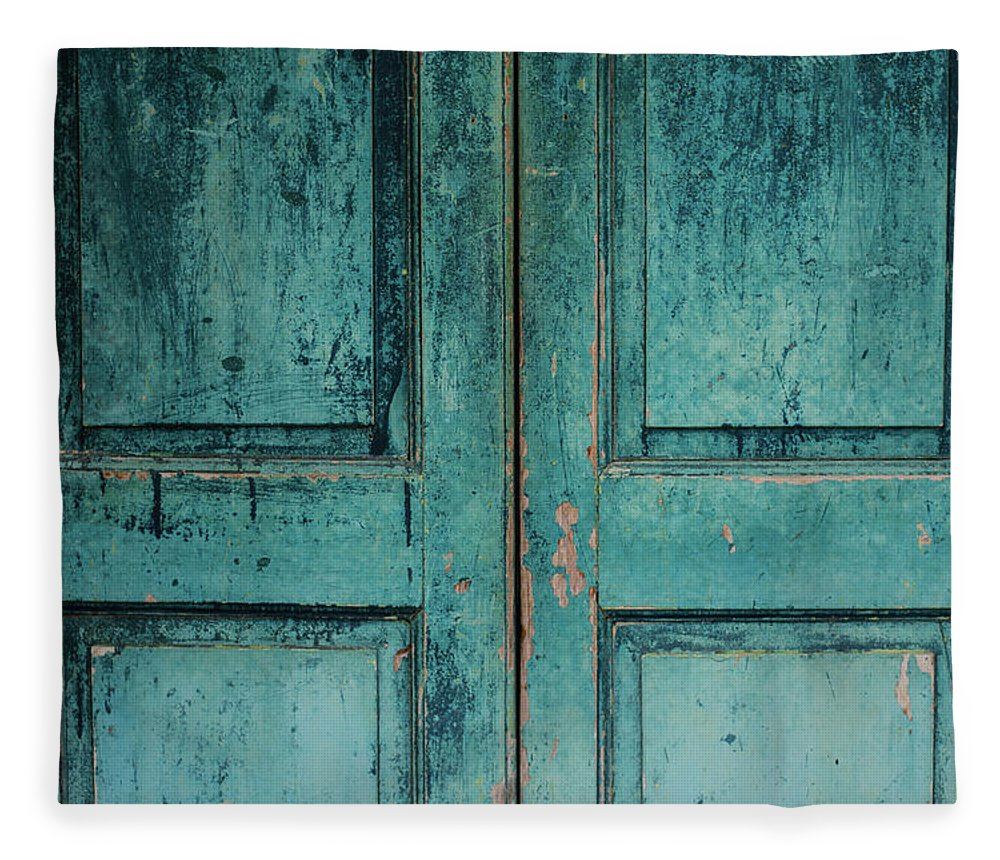 Material Fleece Blanket featuring the photograph Closeup Of Blue Turquoise Old Textured by Sean Idielic
