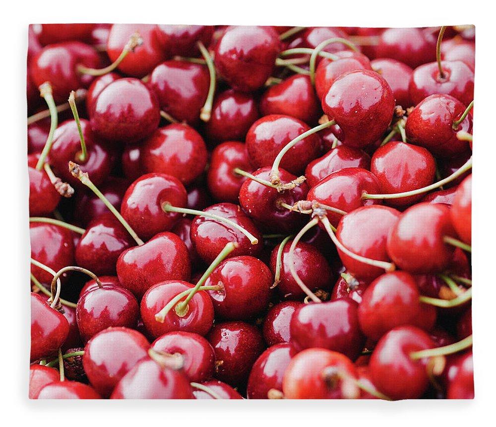 Cherry Fleece Blanket featuring the photograph Closeup Of Fresh Cherries by Miemo Penttinen - Miemo.net