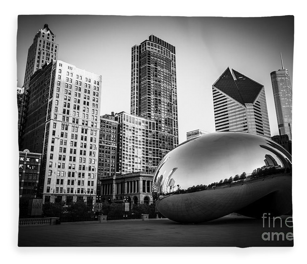 America Fleece Blanket featuring the photograph Cloud Gate Bean Chicago Skyline in Black and White by Paul Velgos