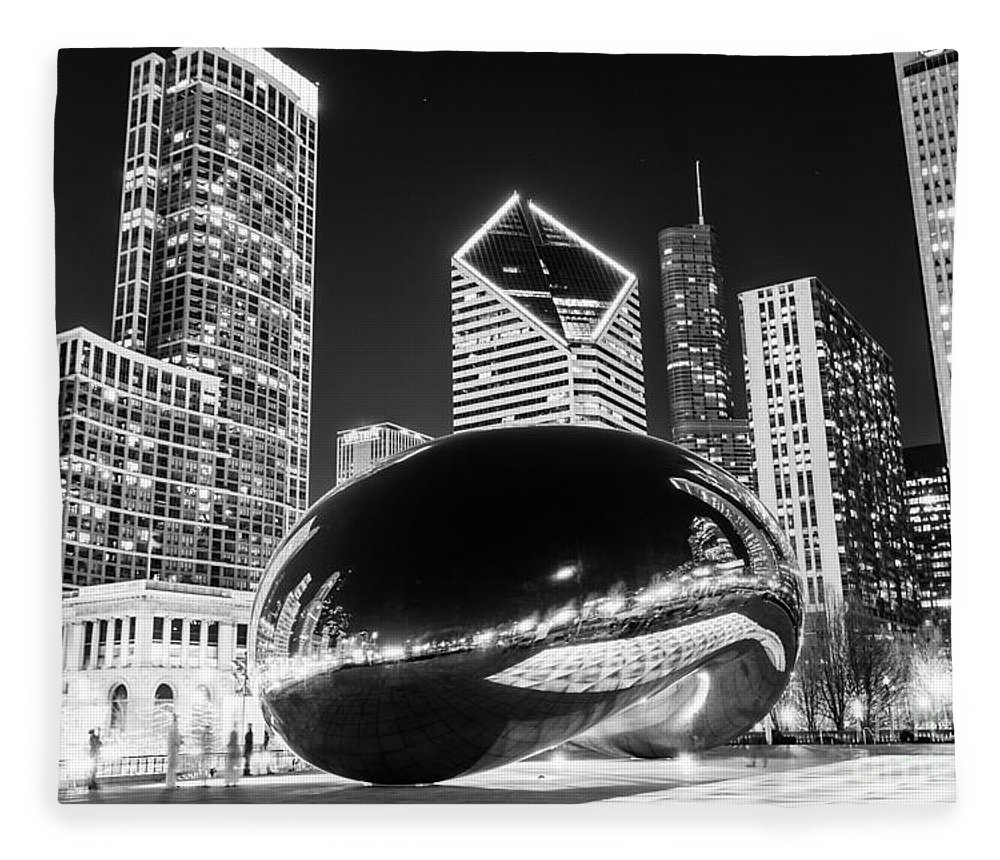 2012 Fleece Blanket featuring the photograph Cloud Gate Chicago Bean Black And White Picture by Paul Velgos