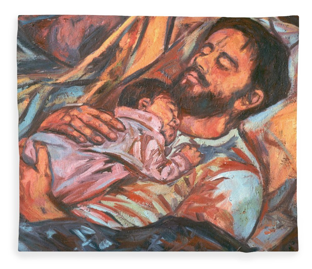Figure Fleece Blanket featuring the painting Clyde and Alan by Kendall Kessler