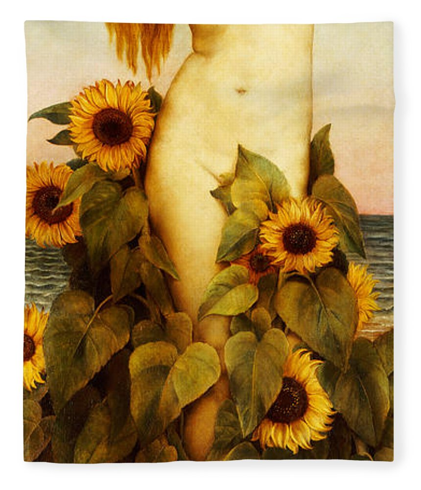 Sunflower Fleece Blanket featuring the painting Clytie by Evelyn De Morgan