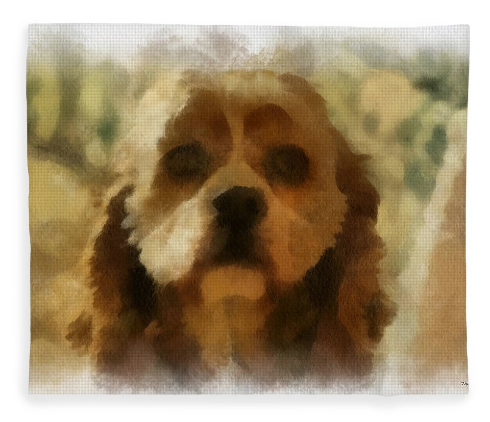Spaniel Fleece Blanket featuring the photograph Cocker Spaniel Photo Art 09 by Thomas Woolworth