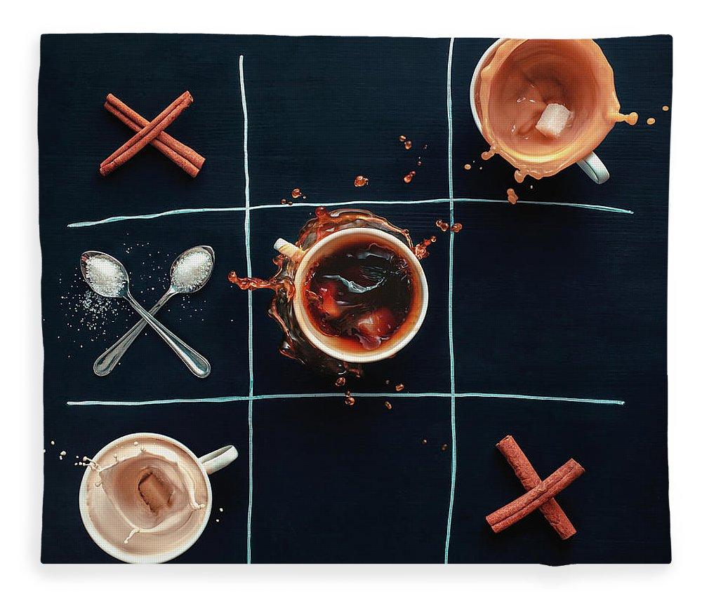 Milk Fleece Blanket featuring the photograph Coffee Tic-tac-toe by Dina Belenko Photography