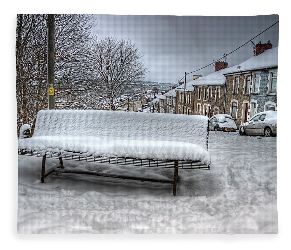 Snowy Seat Fleece Blanket featuring the photograph Cold Seat by Steve Purnell