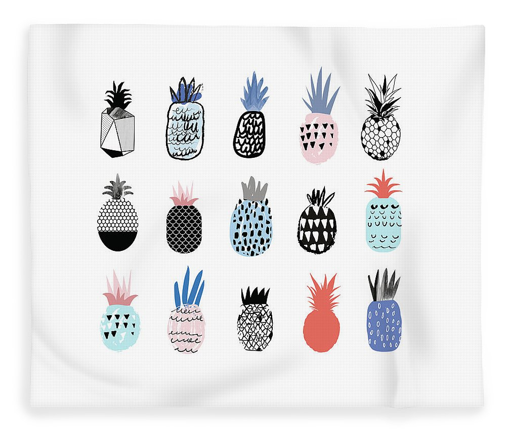 Art Fleece Blanket featuring the digital art Collection Of Cute Pineapples With by Loliputa