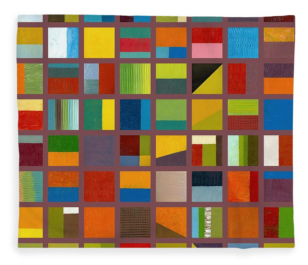 Abstract Fleece Blanket featuring the painting Color Study Collage 65 by Michelle Calkins