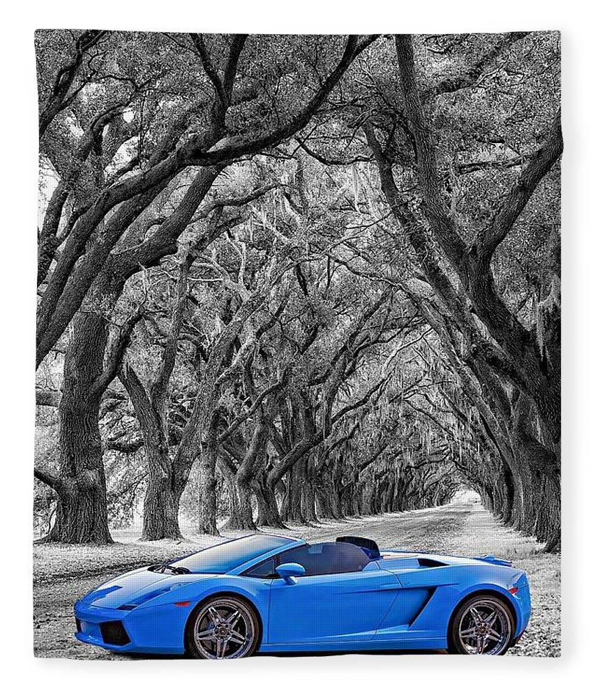 Lamborghini Fleece Blanket featuring the photograph Color Your World - Lamborghini Gallardo by Steve Harrington