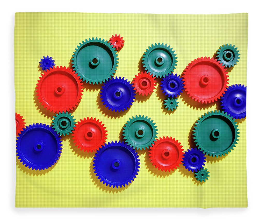 Working Fleece Blanket featuring the photograph Colored Gears by Joseph Clark