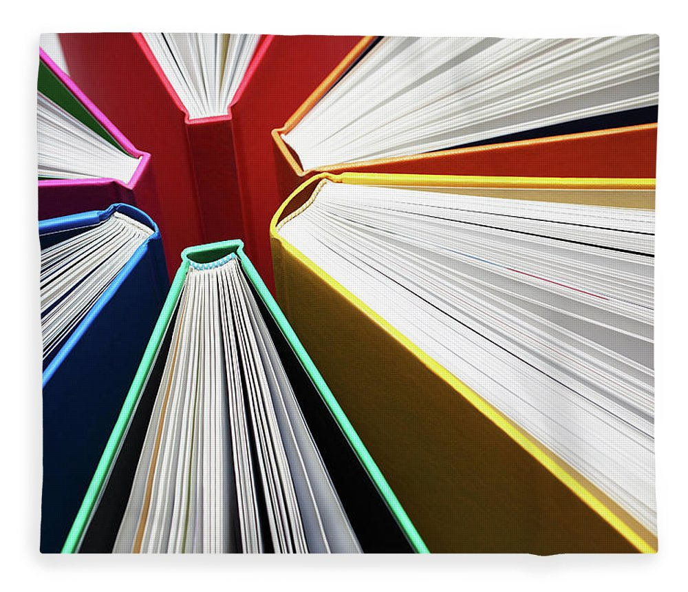 Expertise Fleece Blanket featuring the photograph Colorful Books Abstract by Blackred