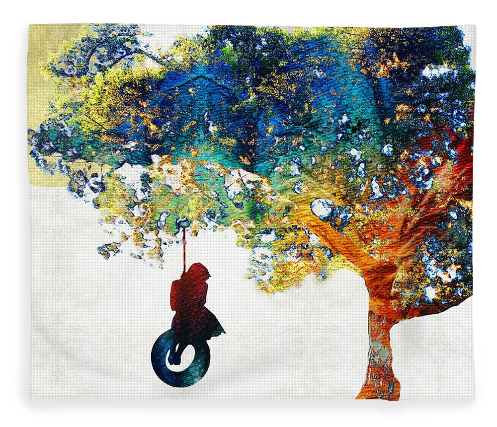Tree Fleece Blanket featuring the painting Colorful Landscape Art - The Dreaming Tree - By Sharon Cummings by Sharon Cummings