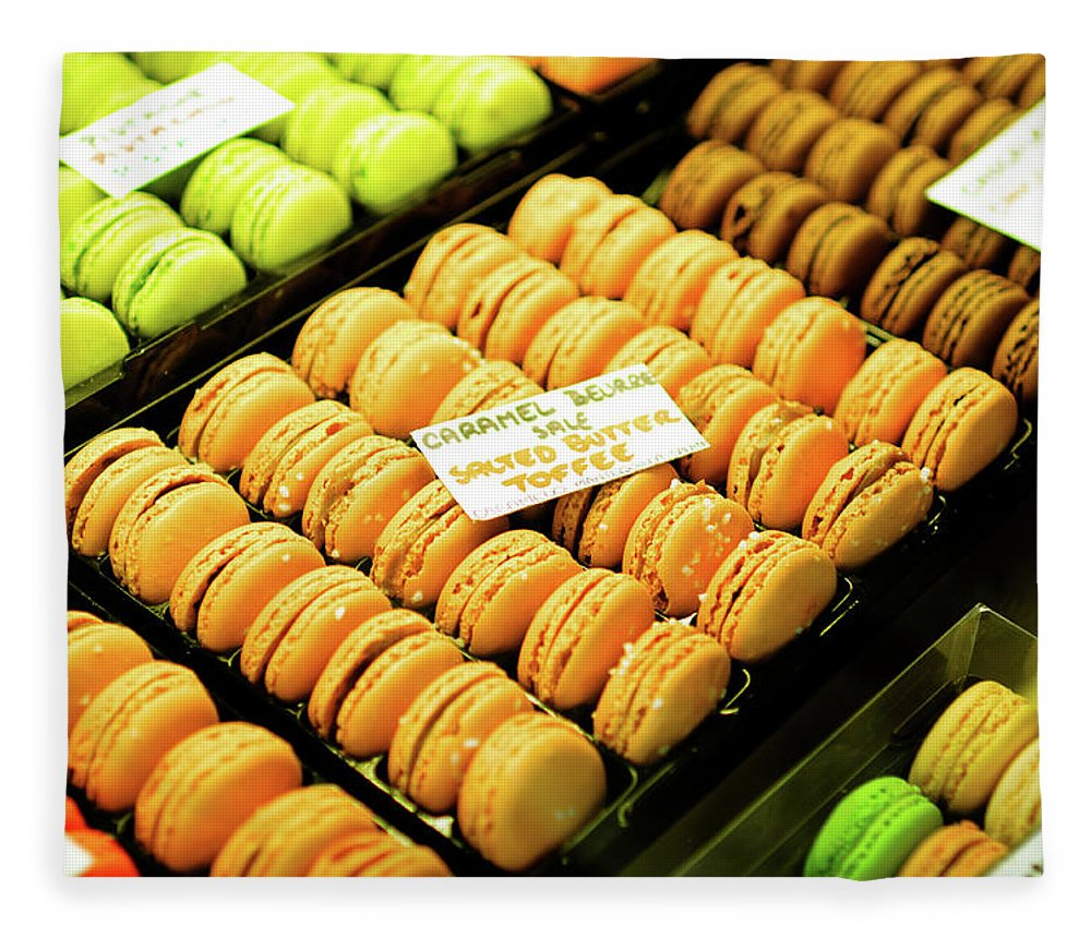 Orange Color Fleece Blanket featuring the photograph Colorful Macaroons Cookie - Xlarge by Phototalk
