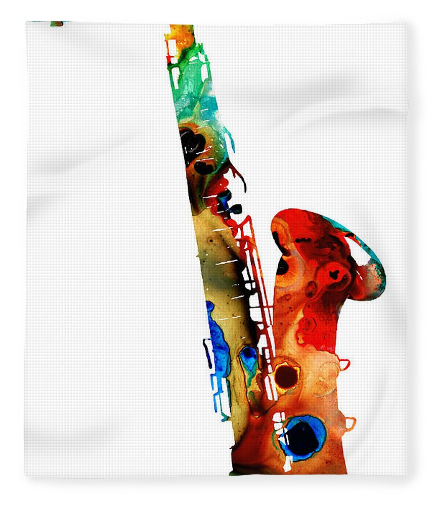 Saxophone Fleece Blanket featuring the painting Colorful Saxophone By Sharon Cummings by Sharon Cummings