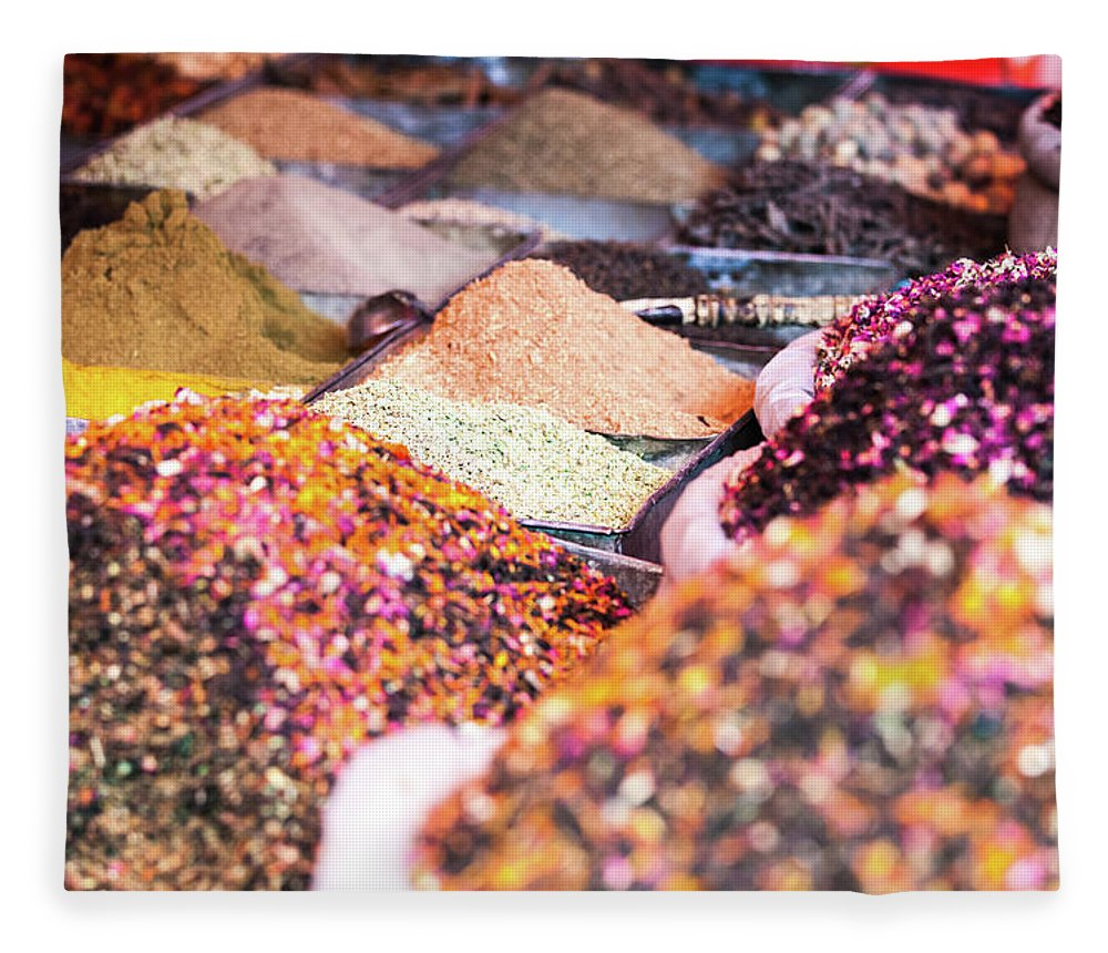 Heap Fleece Blanket featuring the photograph Colorful Spices For Sale At Kashgar by Matteo Colombo