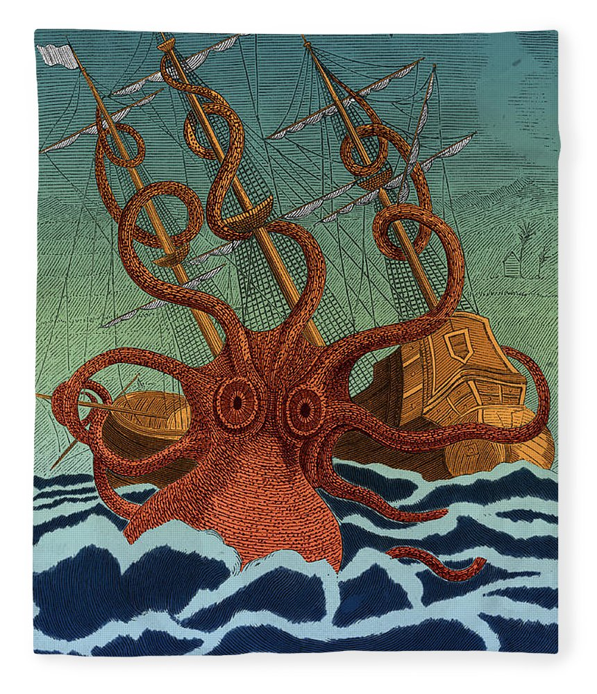History Fleece Blanket featuring the photograph Colossal Octopus Attacking Ship 1801 by Science Source