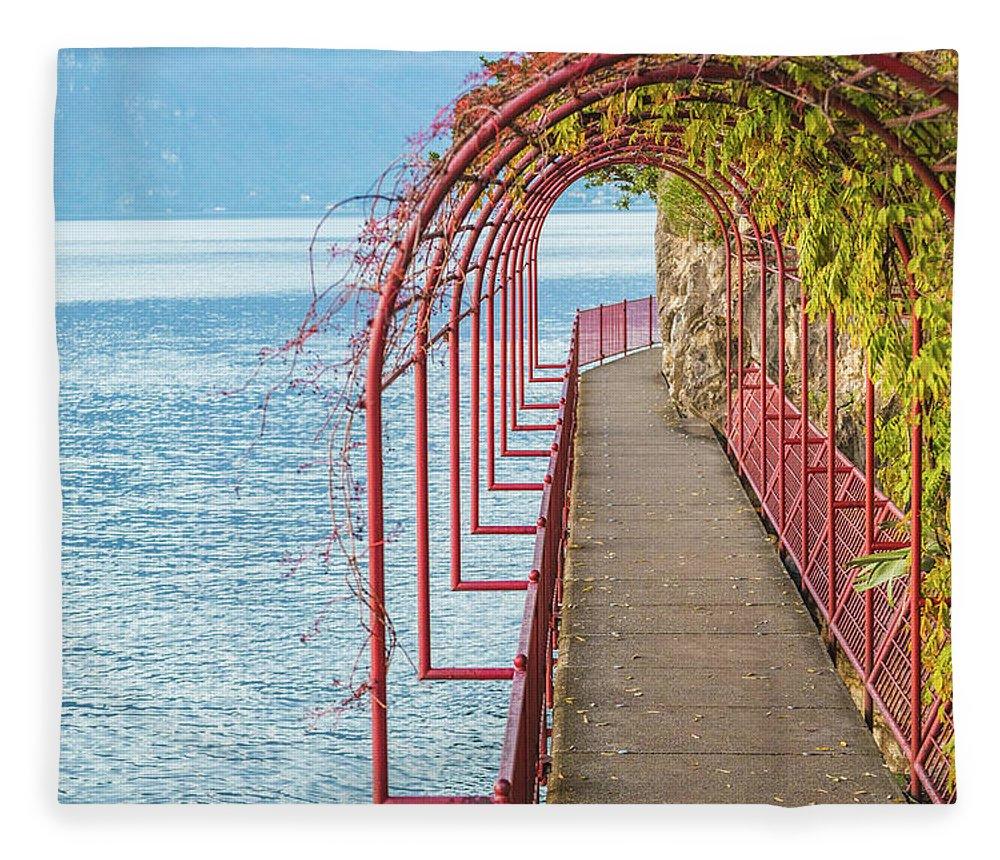 Non-urban Scene Fleece Blanket featuring the photograph Como District Lake, Varenna by Deimagine