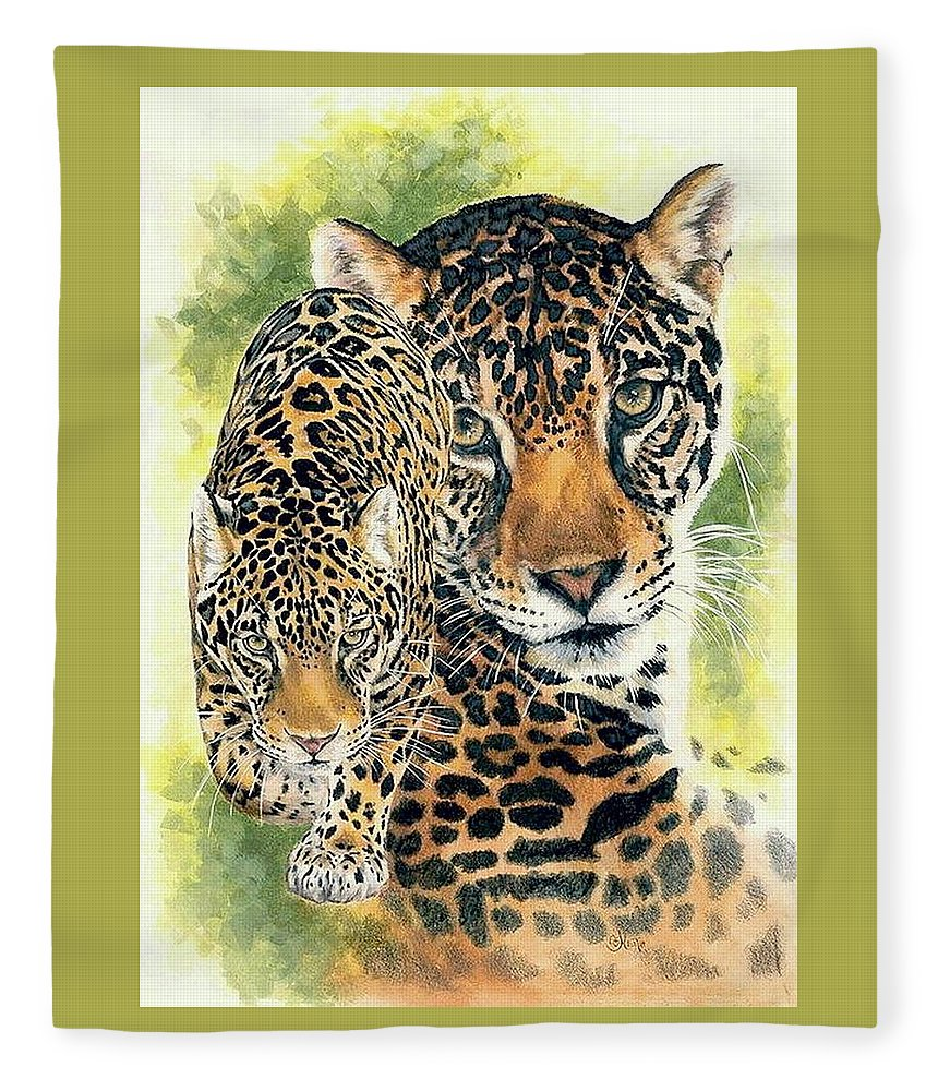 Jaguar Fleece Blanket featuring the mixed media Compelling by Barbara Keith