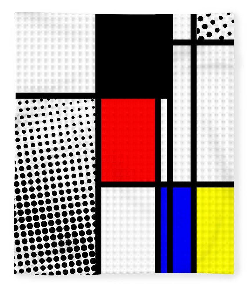 Mondrian Fleece Blanket featuring the mixed media Composition 100 by Dominic Piperata