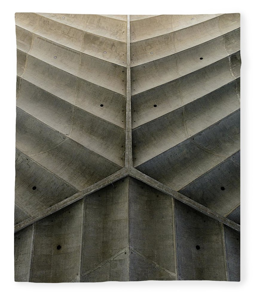 Shadow Fleece Blanket featuring the photograph Concrete Fishbone Or Leaf Design by Olrat