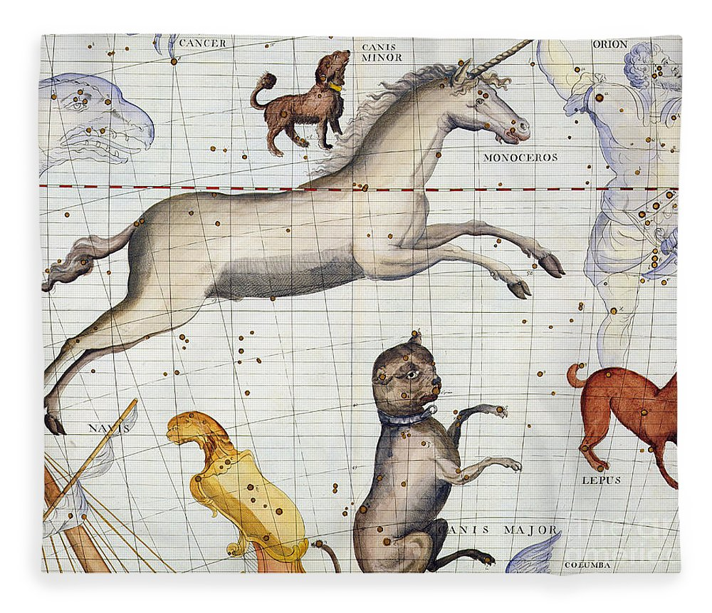 Map Fleece Blanket featuring the painting Constellation of Monoceros with Canis Major and Minor by Sir James Thornhill