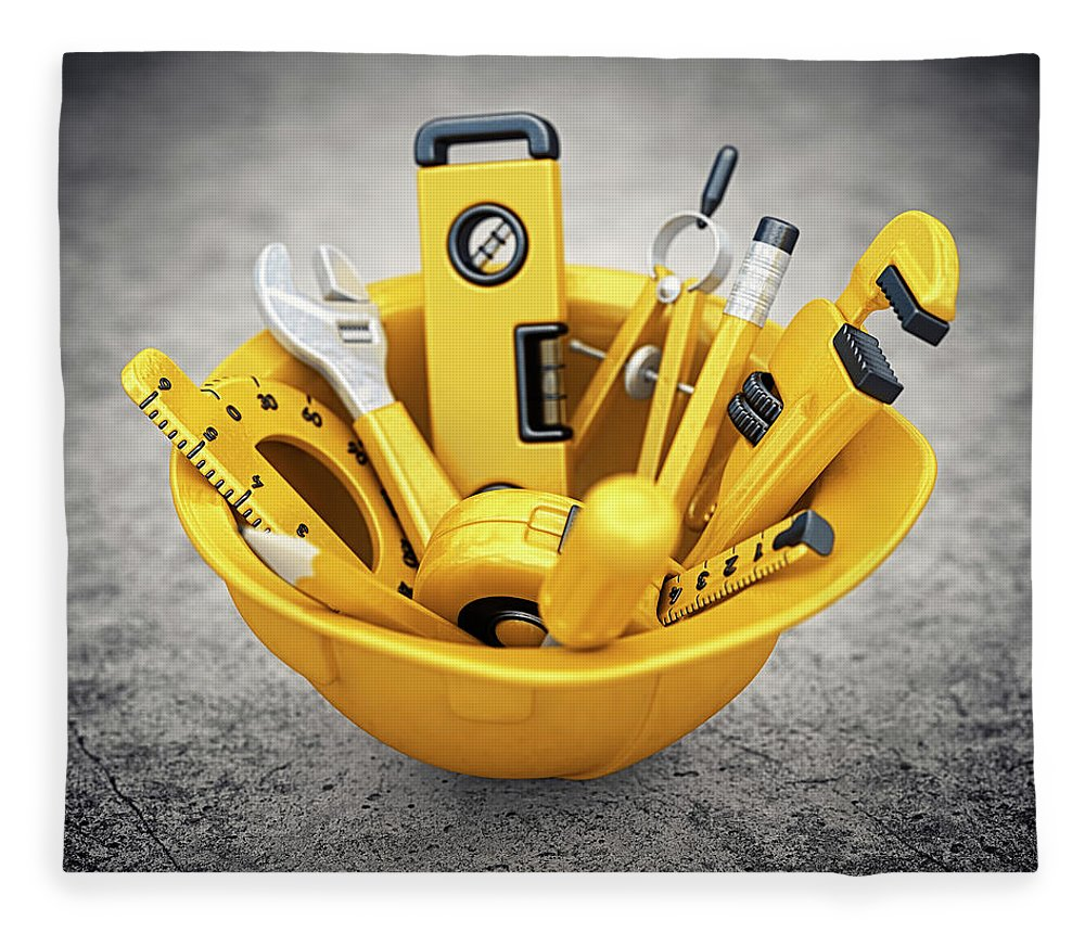 Headwear Fleece Blanket featuring the photograph Construction Tools by Pagadesign