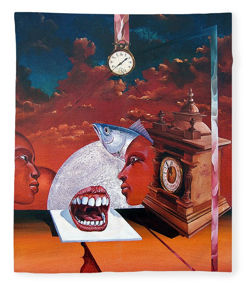 Otto+rapp Surrealism Surreal Fantasy Time Clocks Watch Consumption Fleece Blanket featuring the painting Consumption Of Time by Otto Rapp