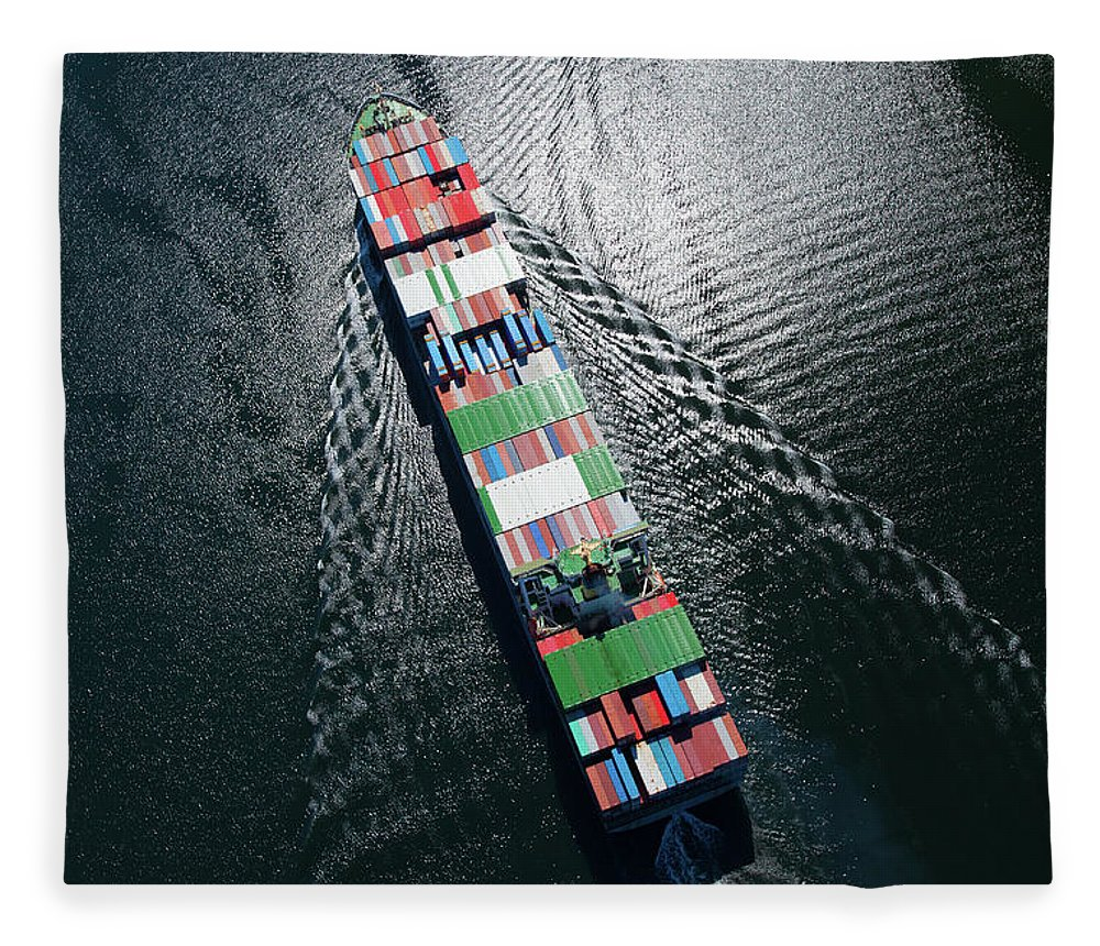 Freight Transportation Fleece Blanket featuring the photograph Container Ship Aerial Photo by Dan prat