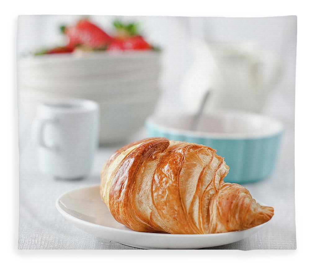 Breakfast Fleece Blanket featuring the photograph Continental Breakfast With Coffee And by Ola p