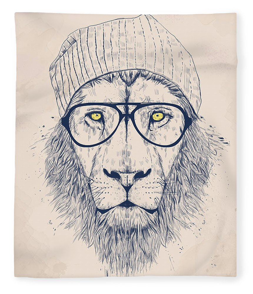 Lion Fleece Blanket featuring the digital art Cool Lion by Balazs Solti