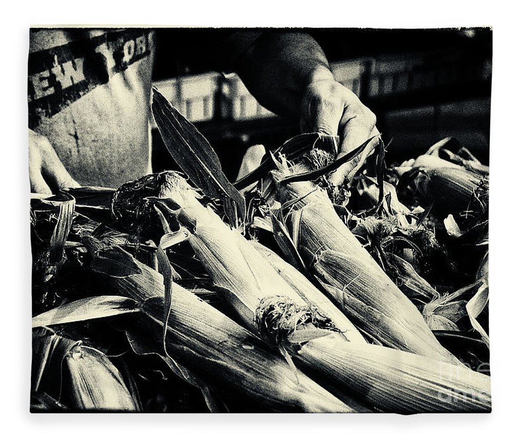 Filmnoir Fleece Blanket featuring the photograph Corn Cobs At The Market New York City by Sabine Jacobs