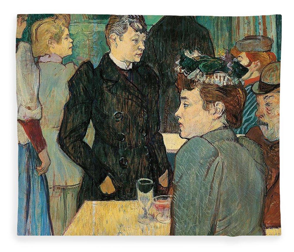 Art Fleece Blanket featuring the painting Corner Of Moulin De La Galette by Henri de Toulouse Lautrec