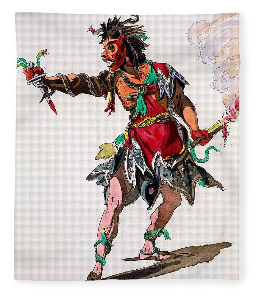 Costume Fleece Blanket featuring the drawing Costume Design For A Fury by French School