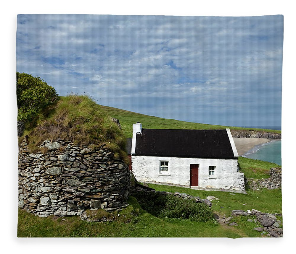 Photography Fleece Blanket featuring the photograph Cottage And Deserted Cottages On Great by Panoramic Images