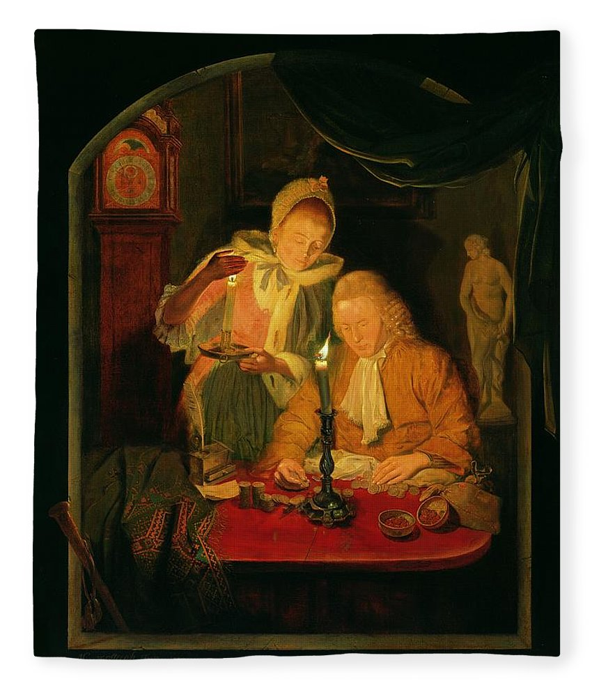 Interior Fleece Blanket featuring the photograph Couple Counting Money By Candlelight, 1779 Panel by Michiel Versteegh