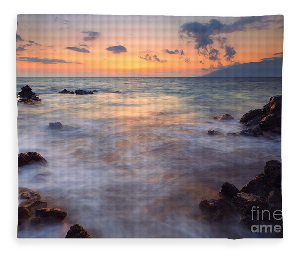 Maui Fleece Blanket featuring the photograph Covered By The Sea by Mike Dawson