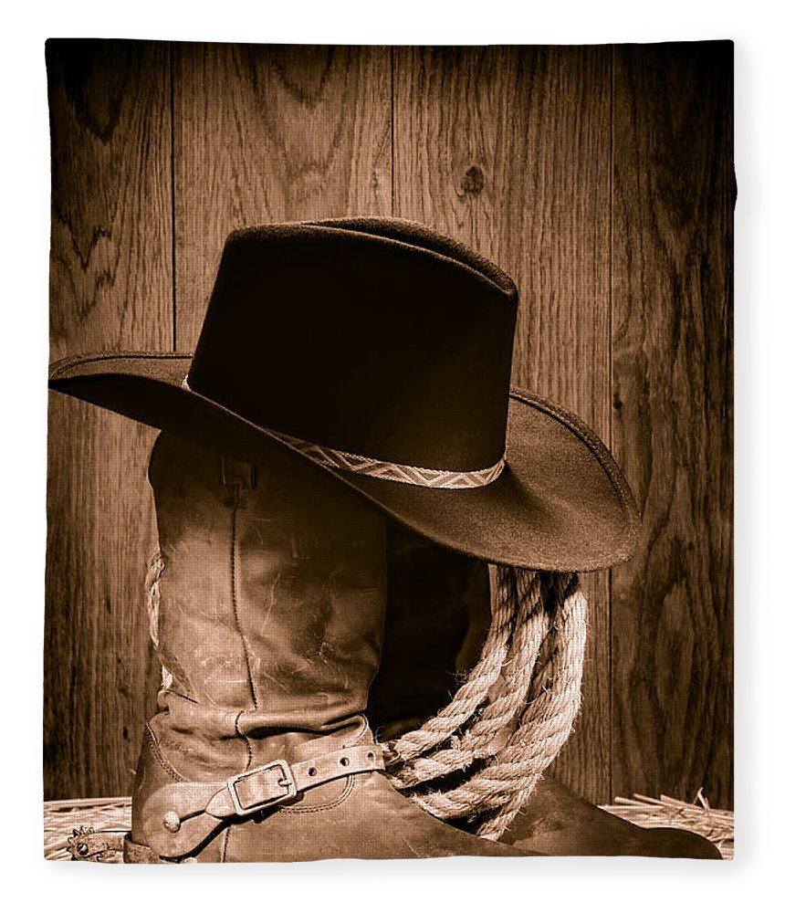 Boots Fleece Blanket featuring the photograph Cowboy Hat And Boots by  Olivier Le Queinec b0a18b0efc4