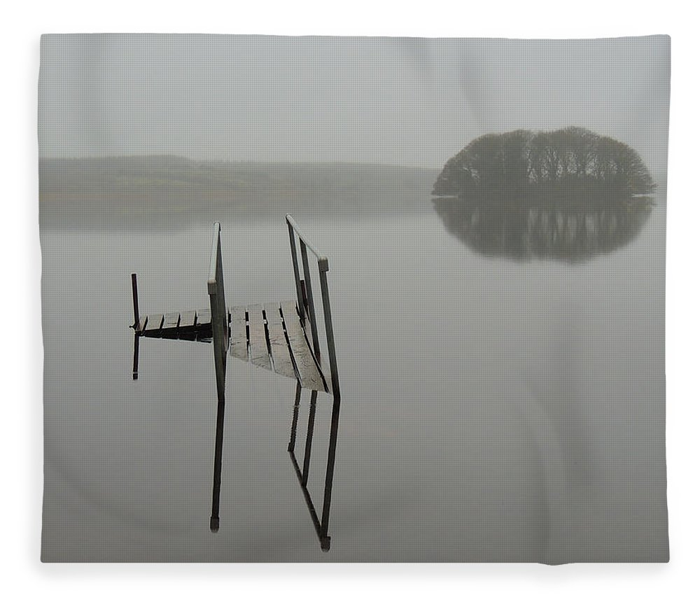 Irish Mist Fleece Blanket featuring the photograph Crannog At Lake Knockalough by James Truett