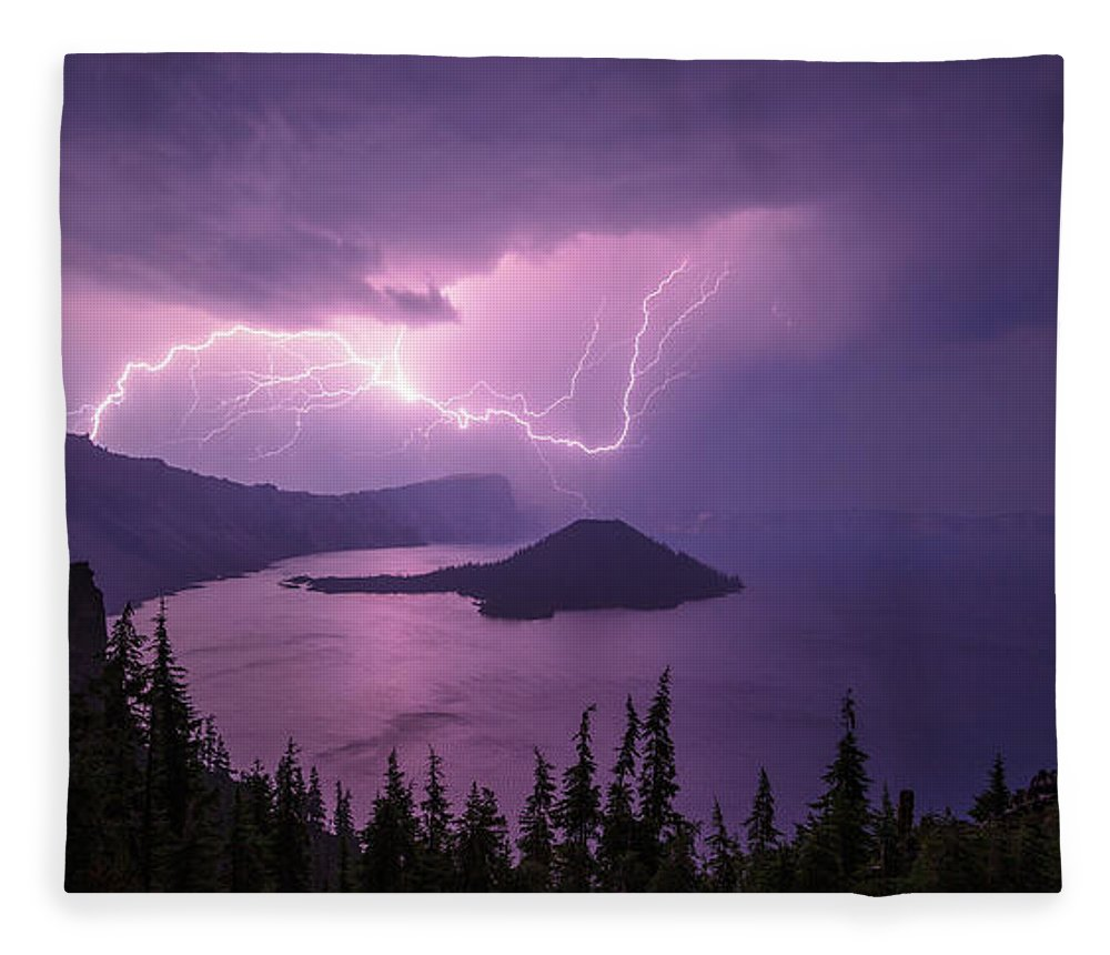 Crater Storm Fleece Blanket featuring the photograph Crater Storm by Chad Dutson