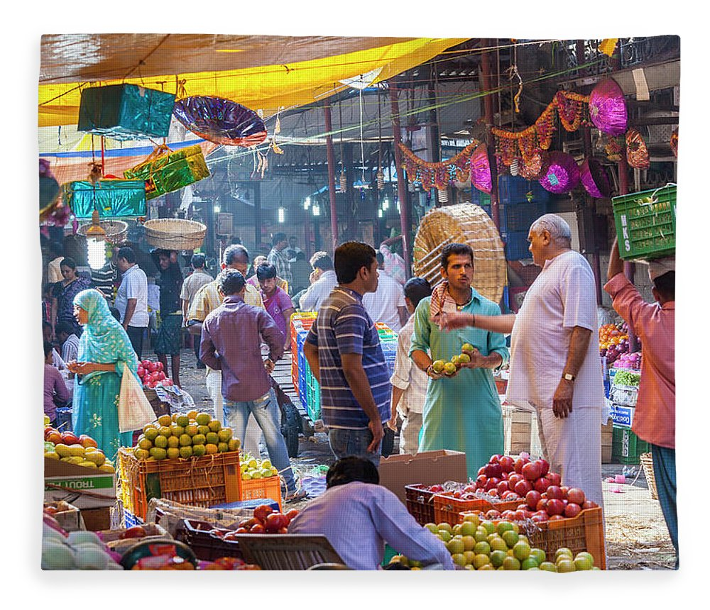 Trading Fleece Blanket featuring the photograph Crawford Market, Mumbai, India by Peter Adams