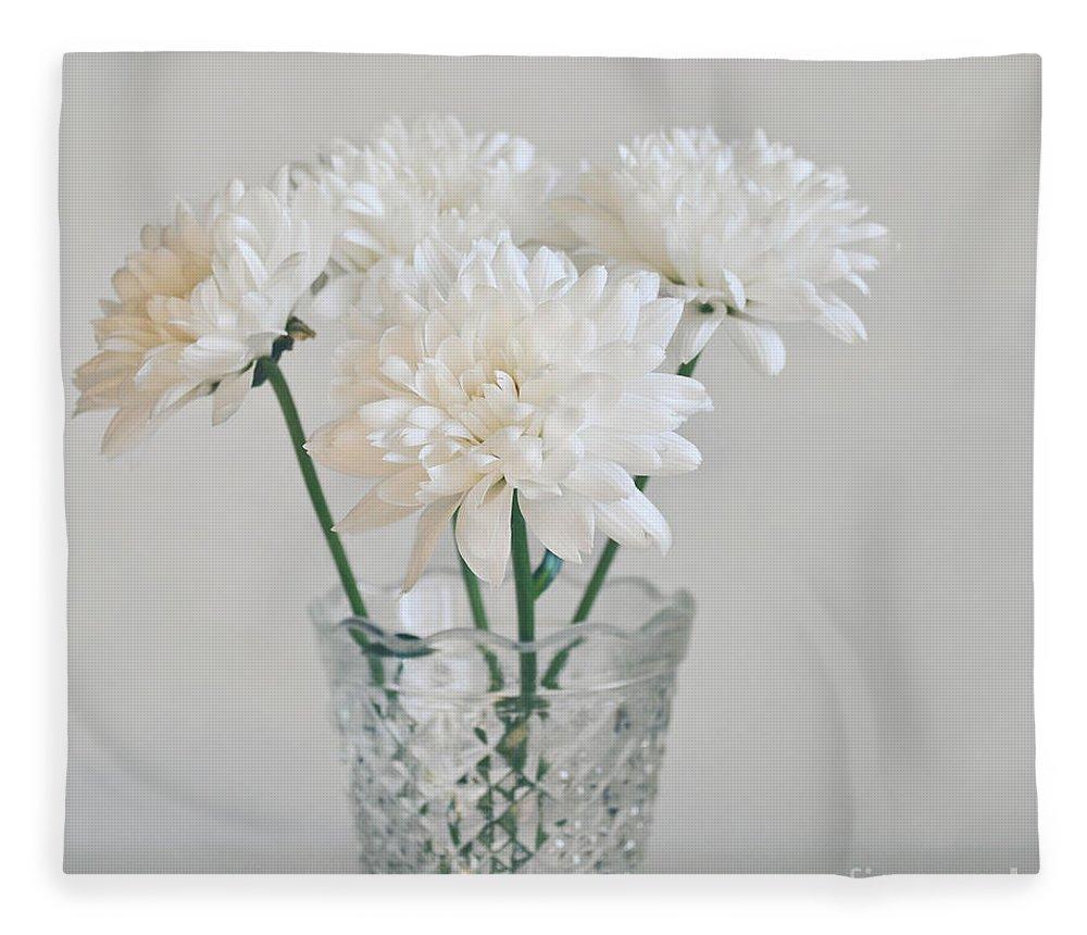 Creamy White Flowers In Tall Vase Fleece Blanket For Sale By Lyn Randle